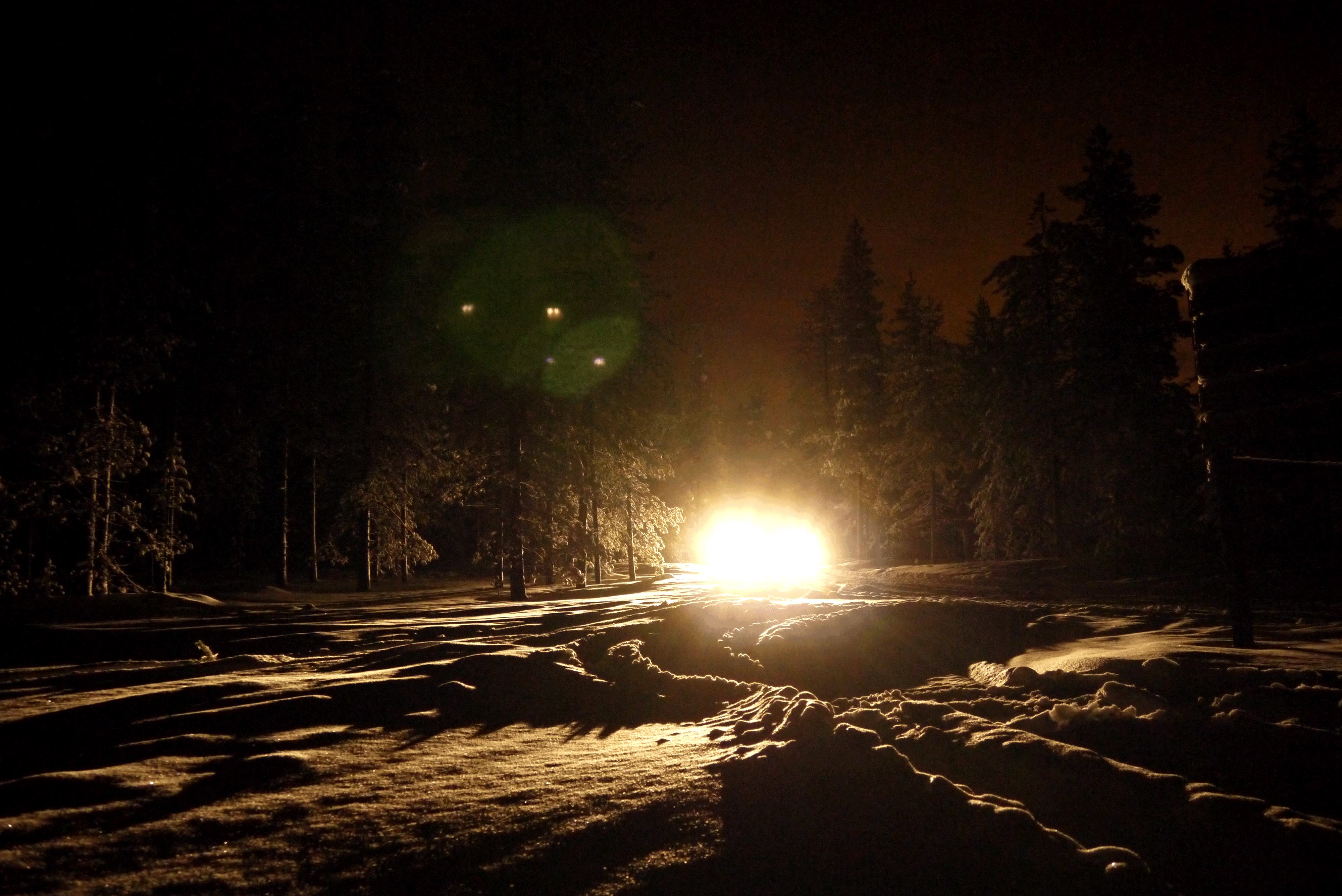 Schneemobil in verschneiter Landschaft